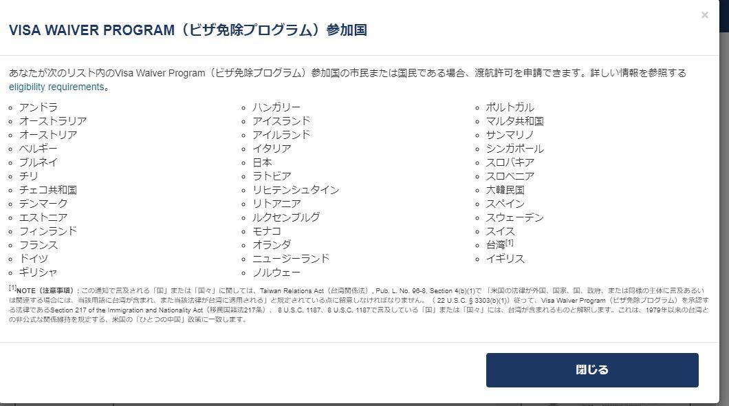 Visa Waiver Program対象国リスト